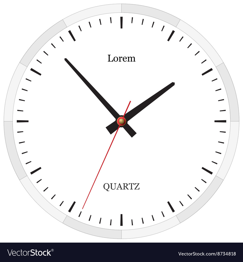 Classic Clock Without Numbers Placed On White Vector Image