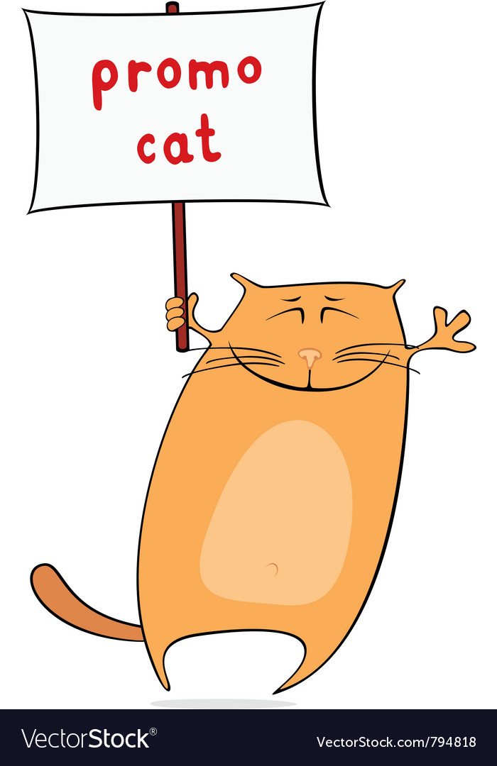 Funny promo cat vector image