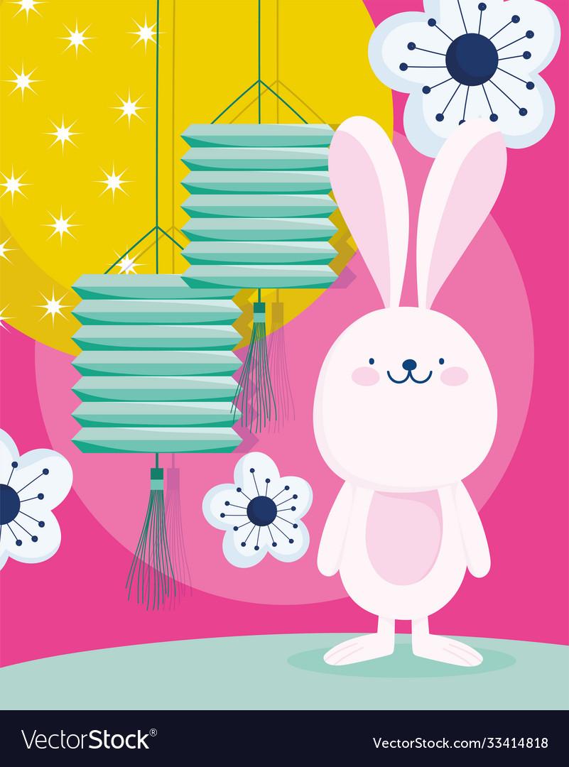 Happy mid autumn festival cute rabbit lanterns