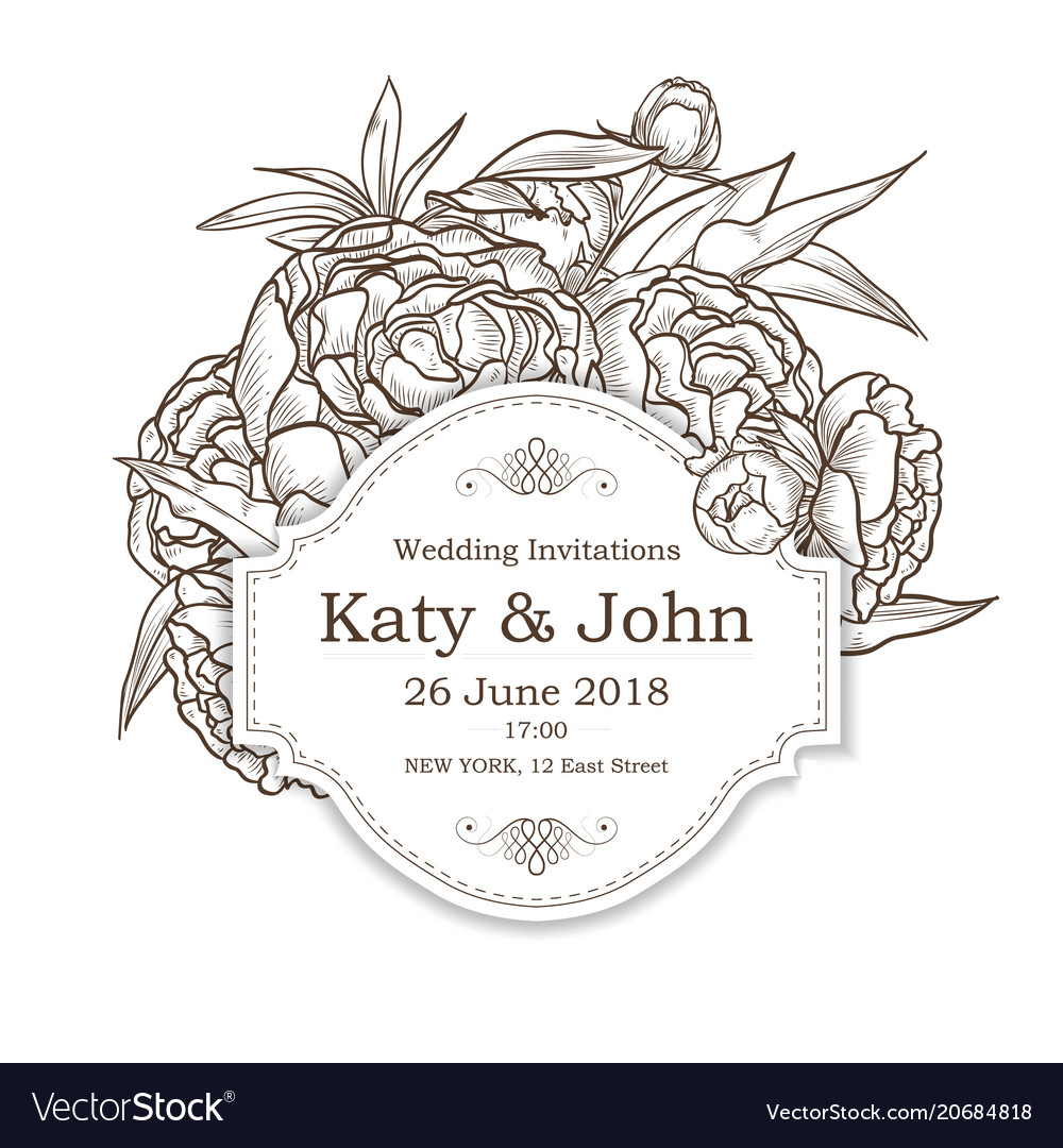 Invitation with peony flowers