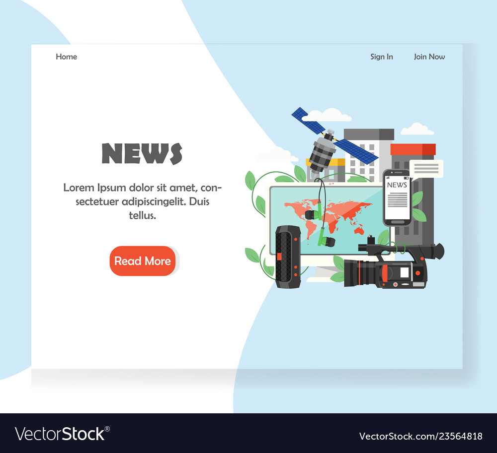News website landing page design template