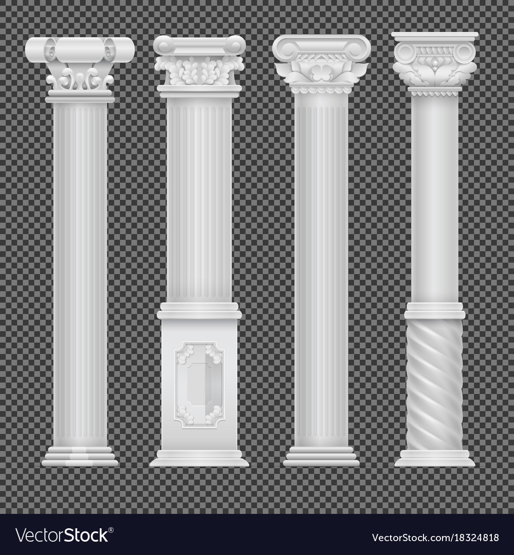 Realistic white antique roman column isolated on