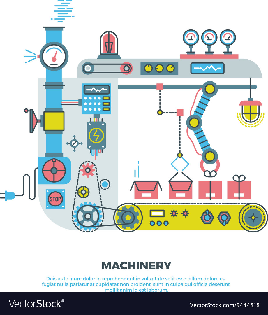 Robotic industrial abstract machine machinery in