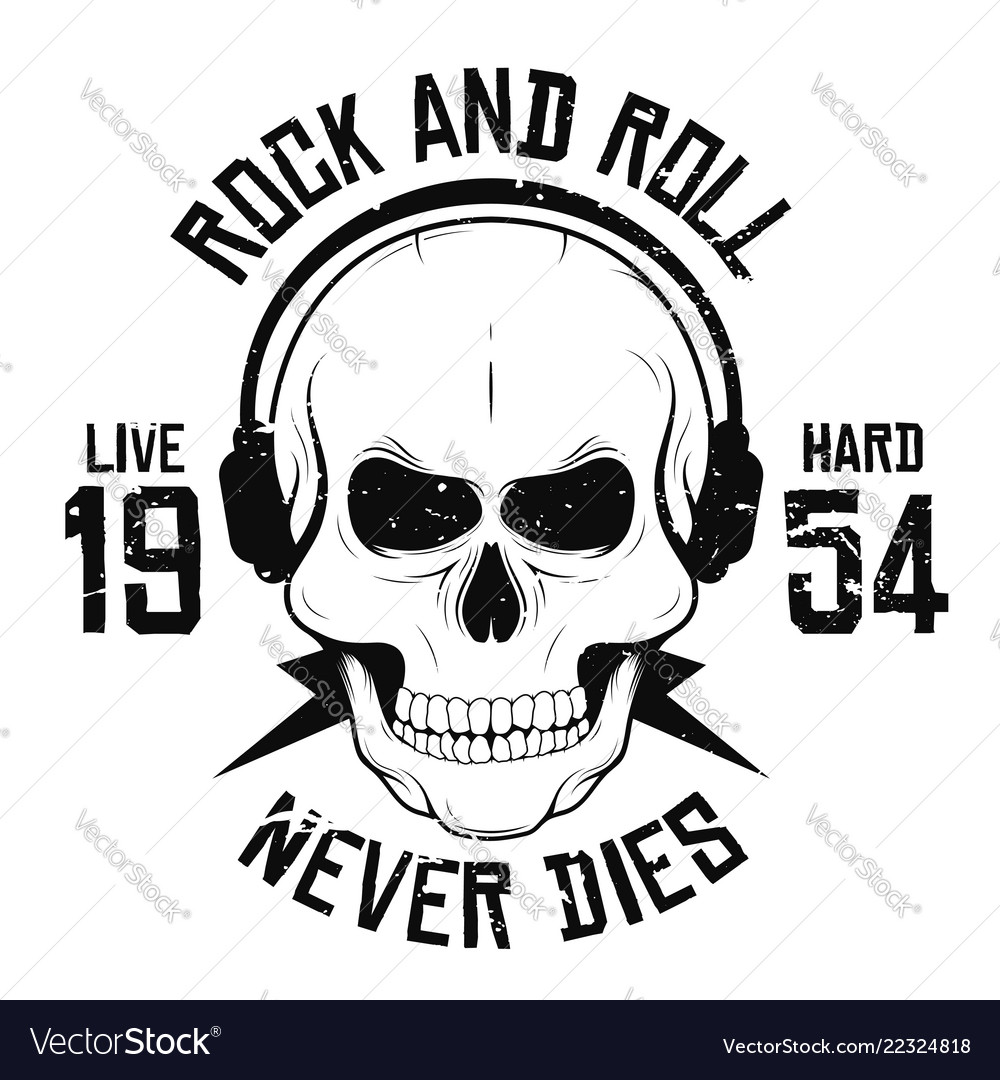Rock and roll t-shirt graphic design with skull