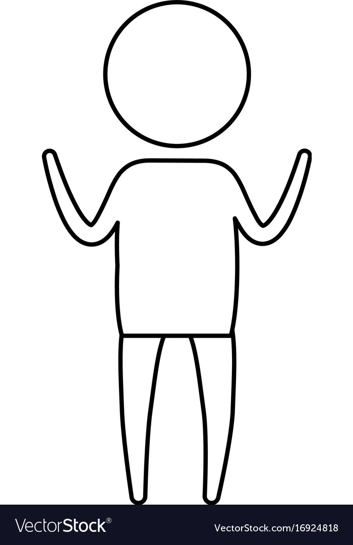 sketch silhouette of pictogram boy standing with vector image