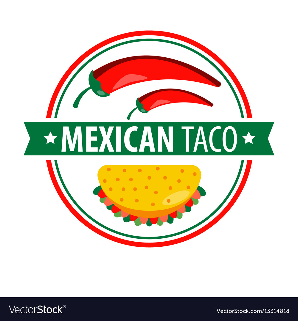 Taco logo icon isolated on white traditional