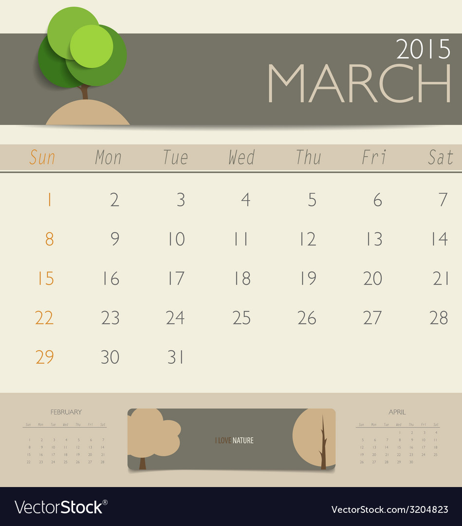 2015 Calendar Monthly Calendar Template For March Vector Image