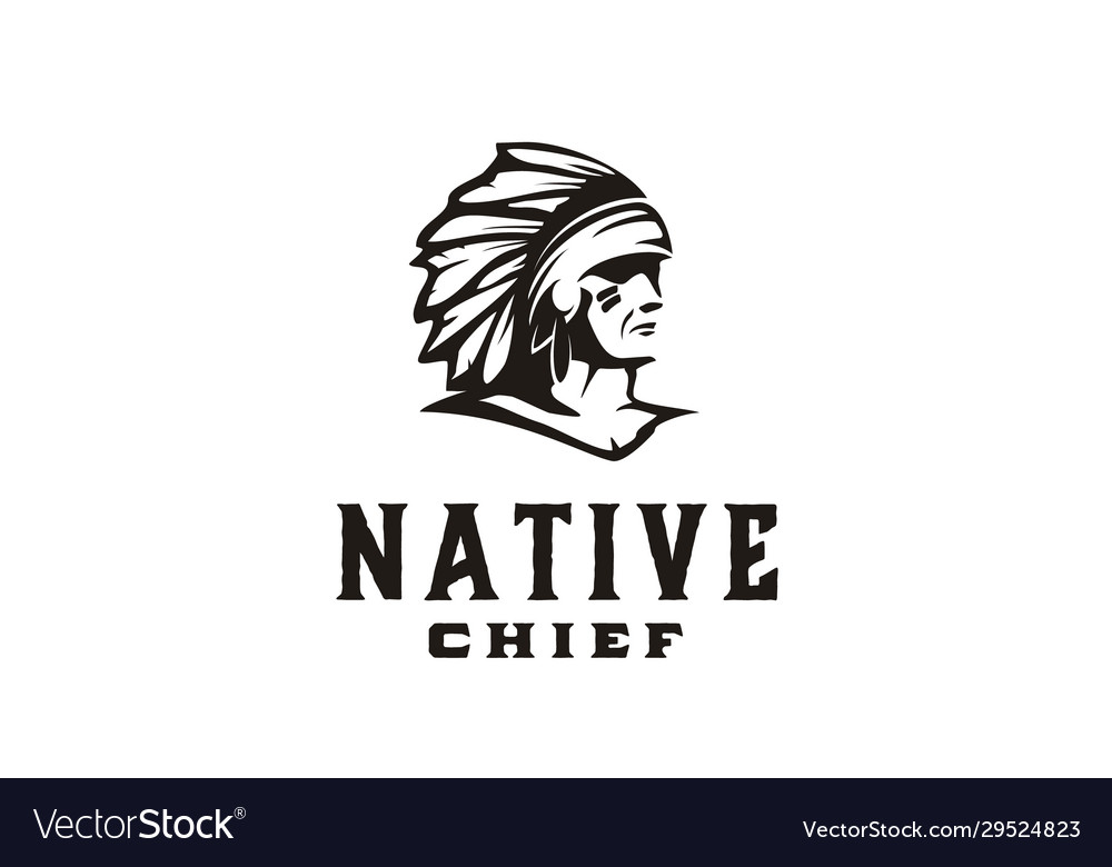 American native indian chief headdress logo