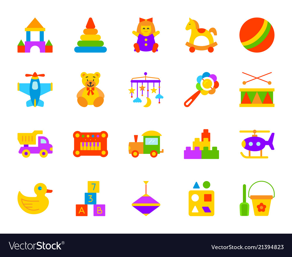 Baby toy simple flat color icons set