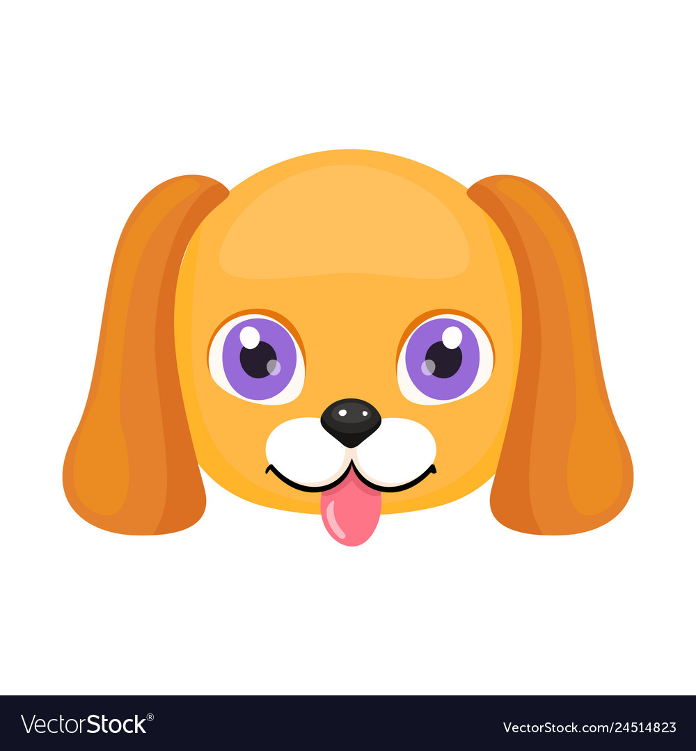 Cute Dog Face Or Mask Isolated Royalty Free Vector Image