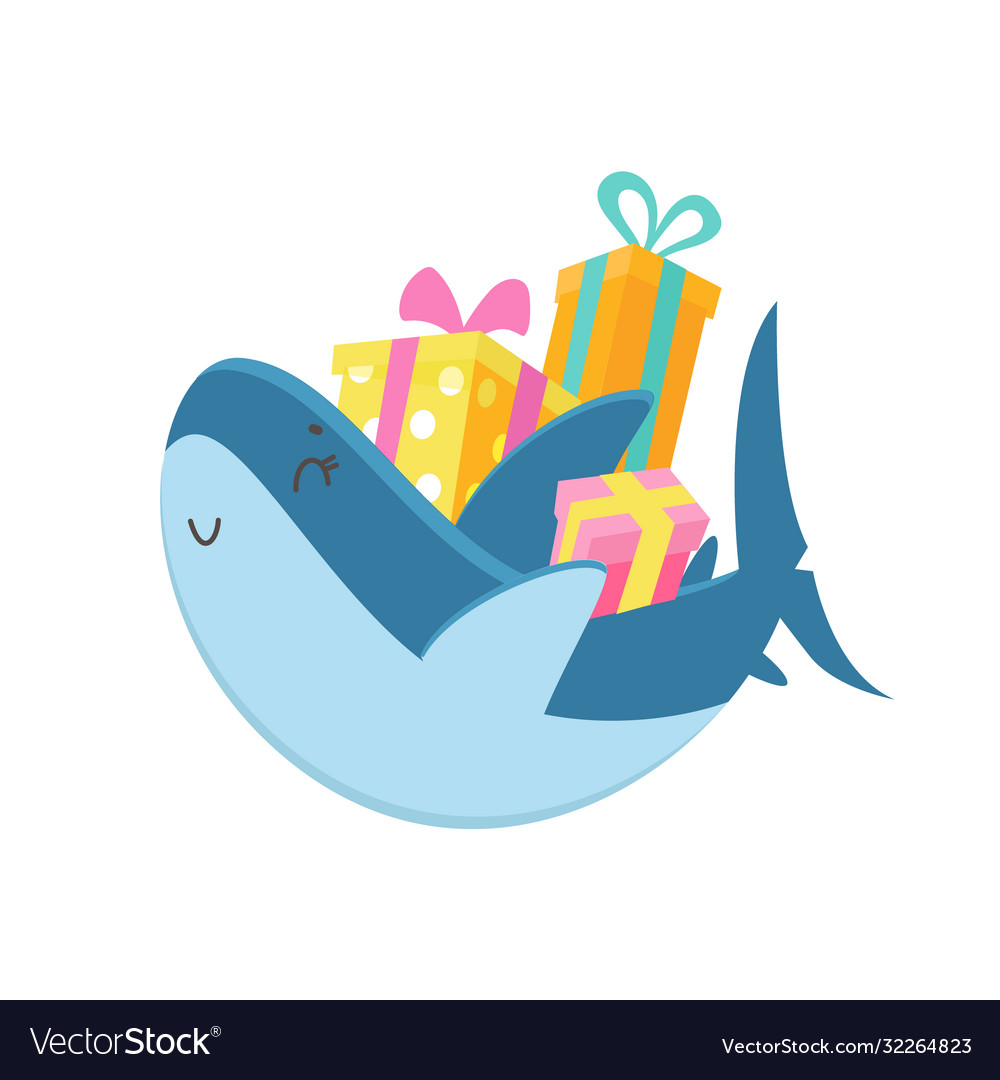 Cute shark carry pile wrapped gift boxes baby