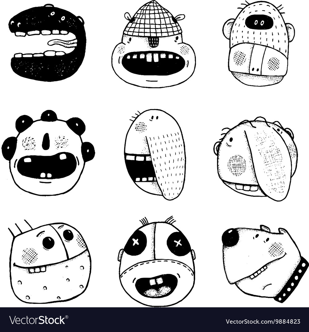 Doodle Outline Cartoon Funny Monster Faces