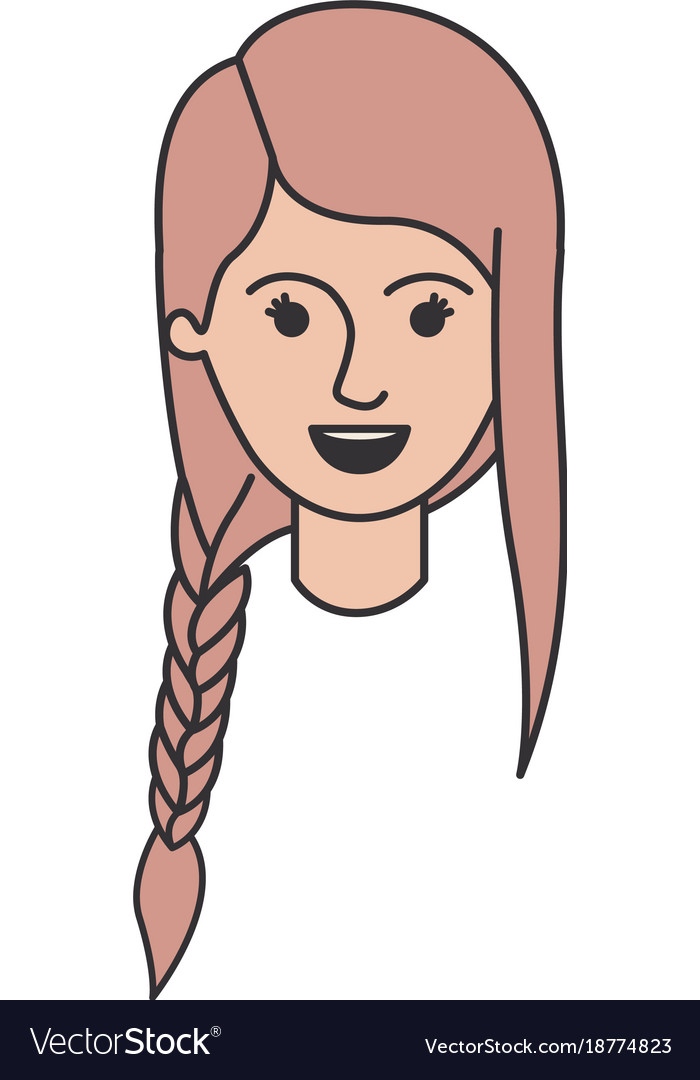Female Face With Braid And Fringe Hairstyle In Vector Image