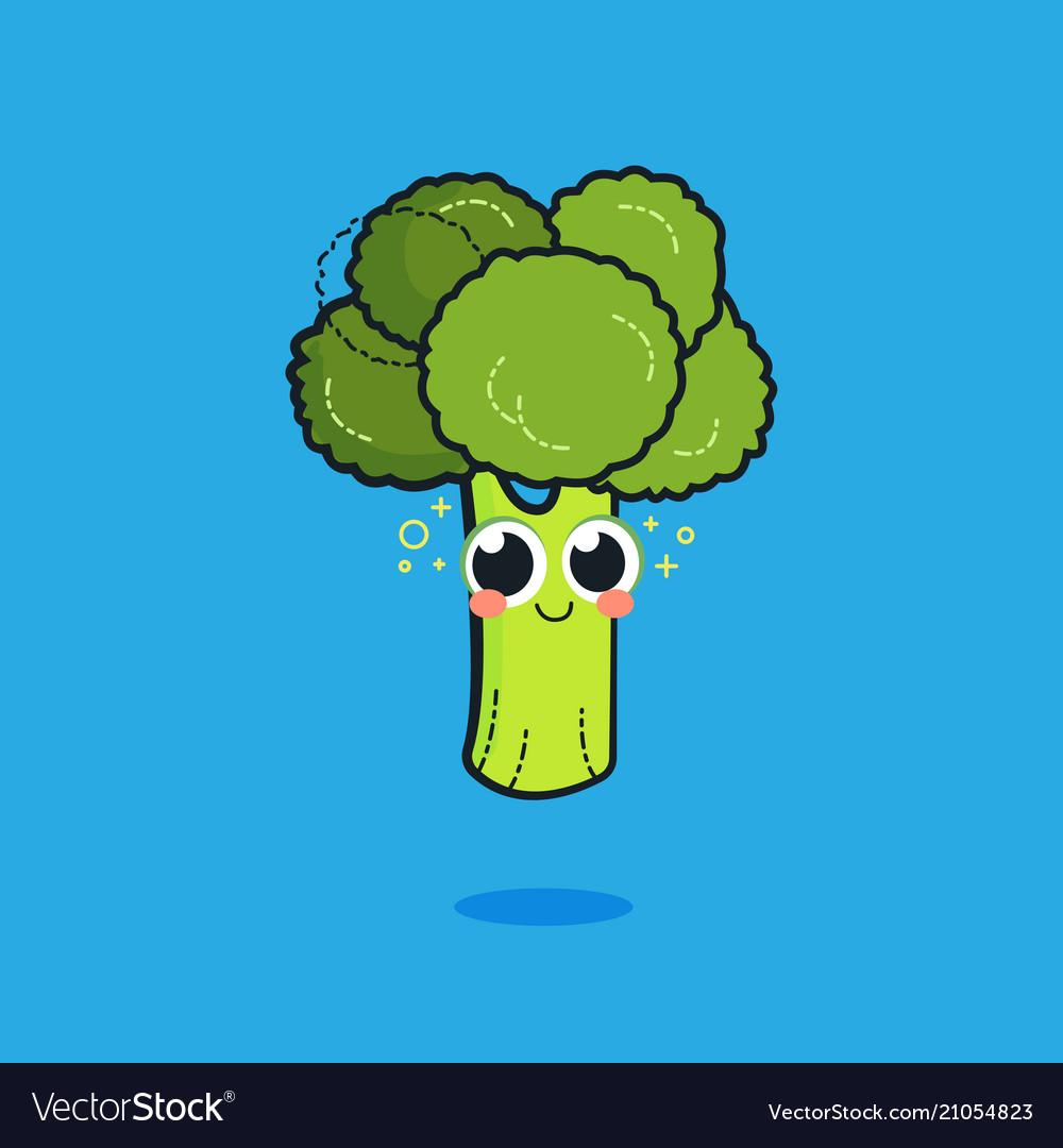 funny cartoon cute green smiling broccoli vector image vectorstock