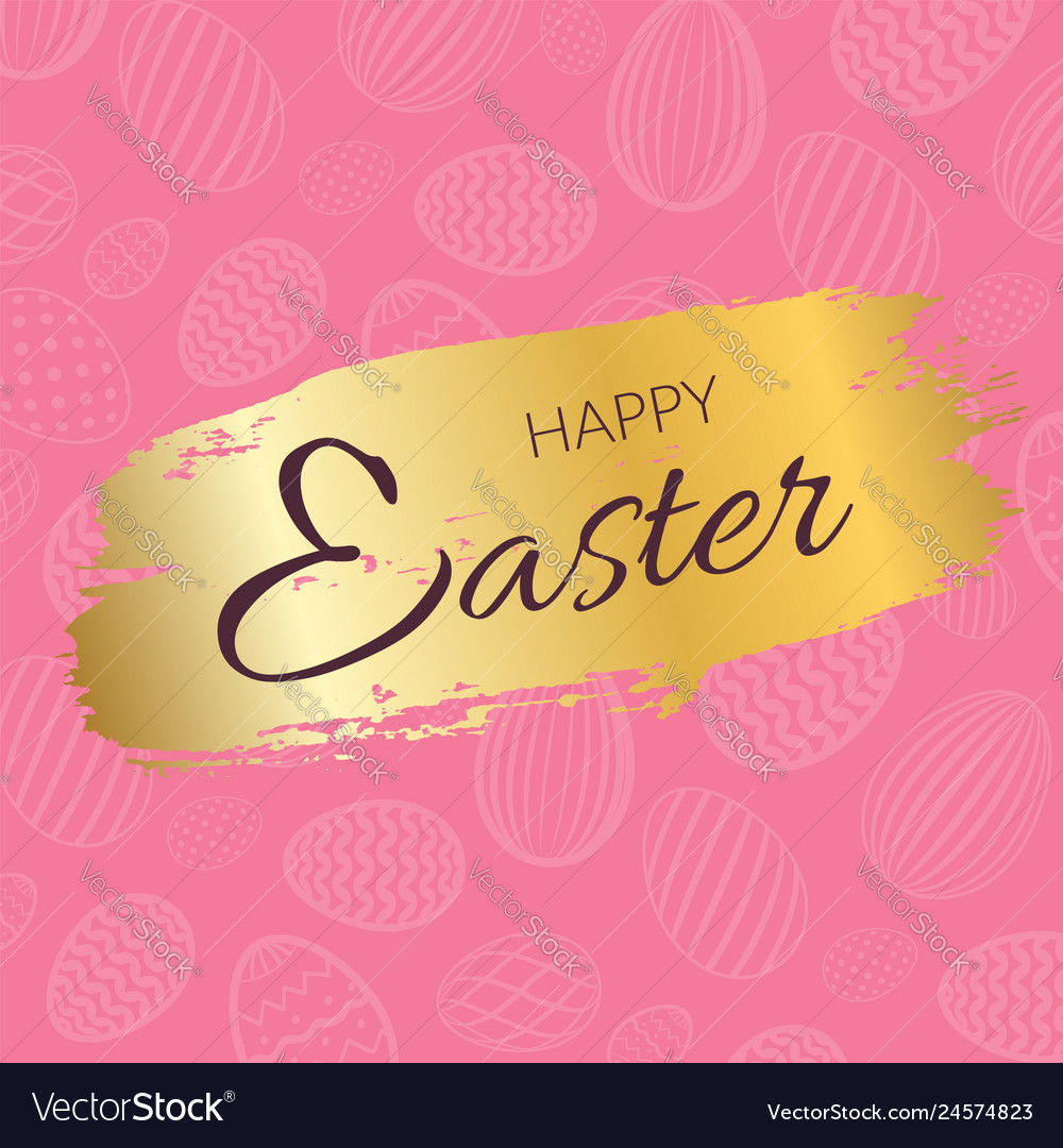 Happy easter background calligraphic text eggs