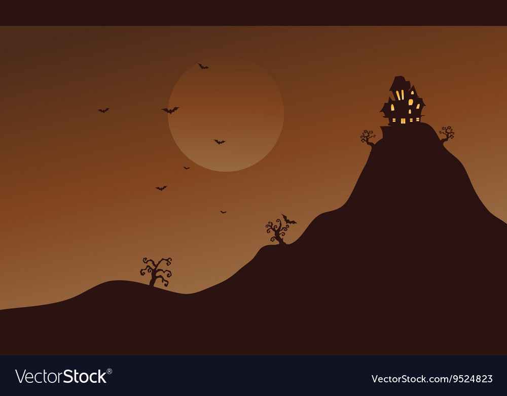Hills and bat scenery at Halloween