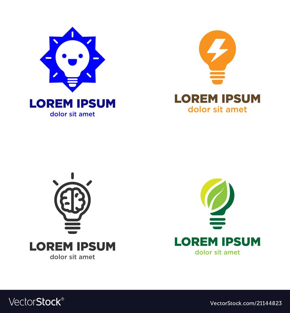 Light bulb logo design set