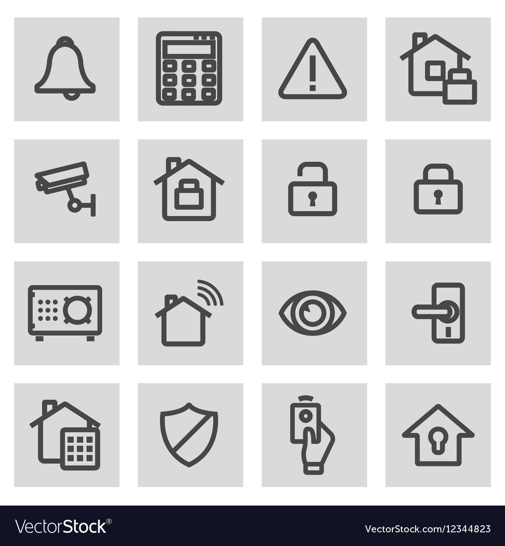 Line home security icons set vector image