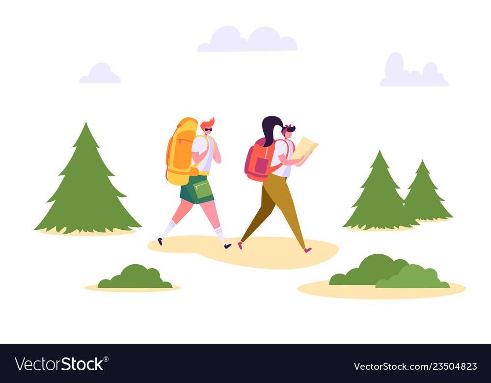 People hiking backpack forest nature landscape