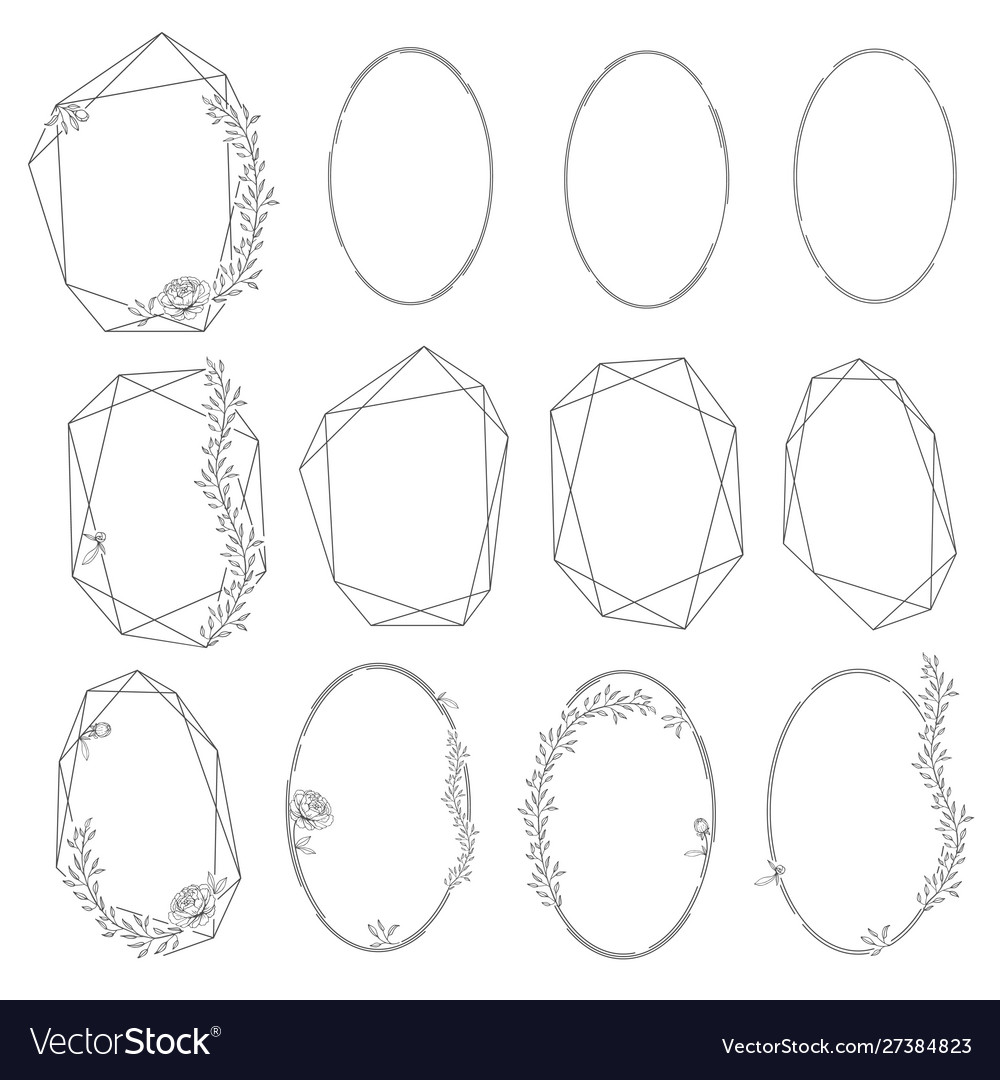 Set oval and polygonal floral frames