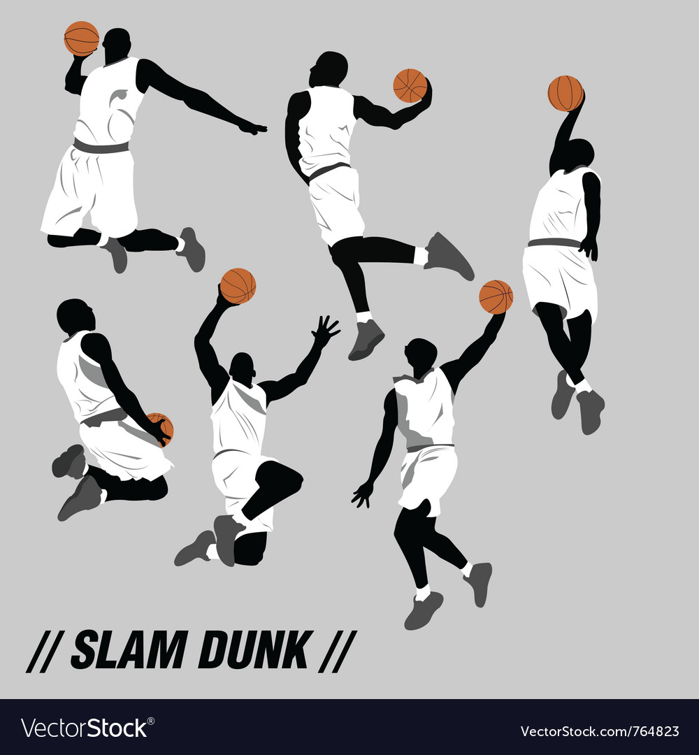 Slam dunk pose collection vector image