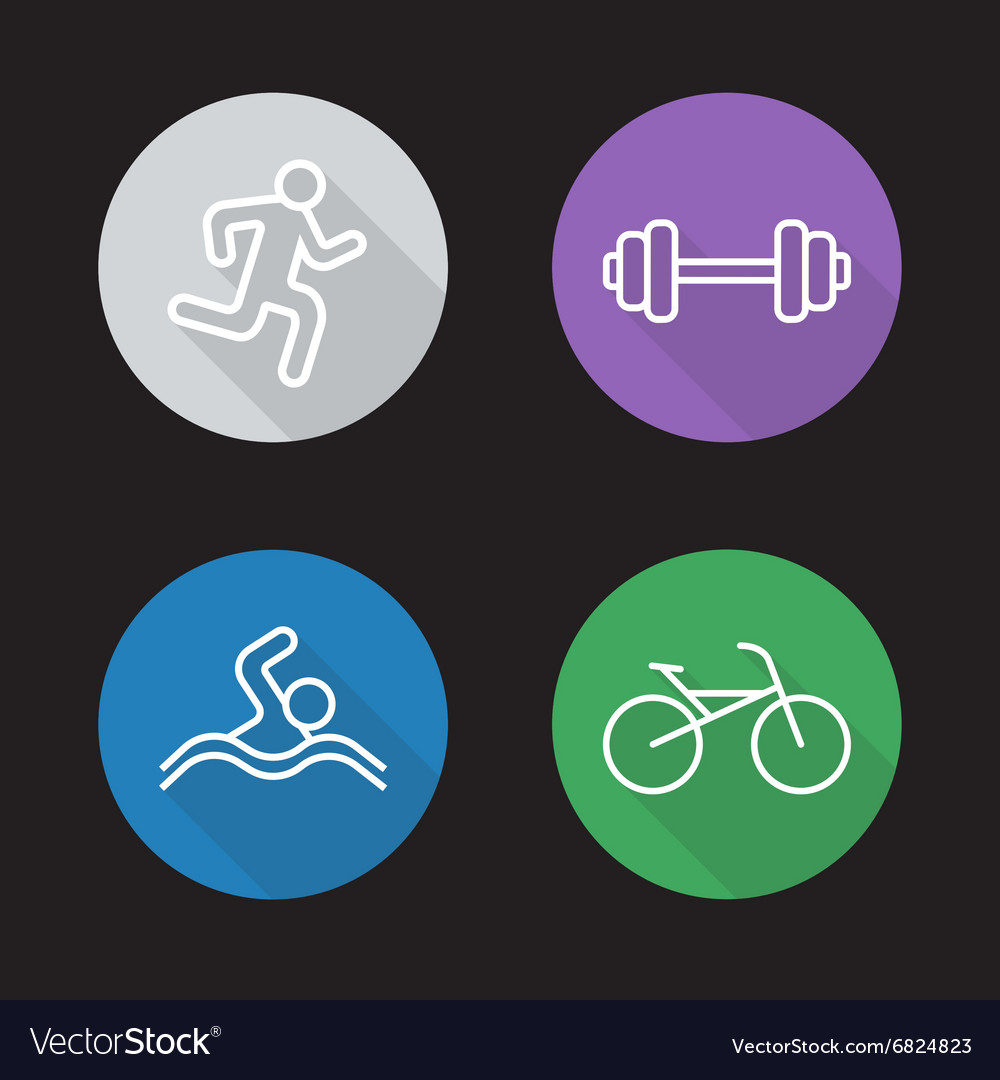 Sport flat linear icons set