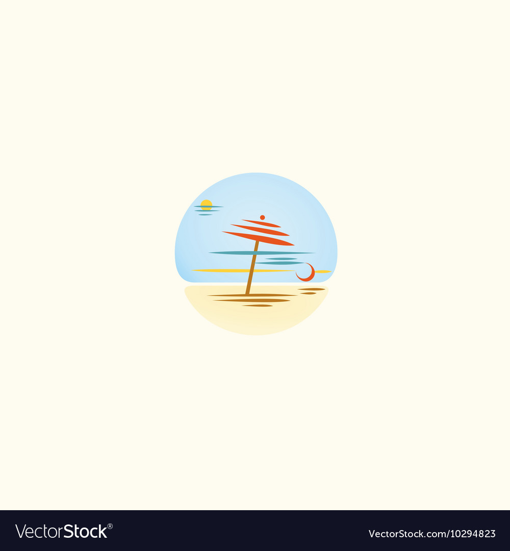 Summer beach unusual logo umbrella