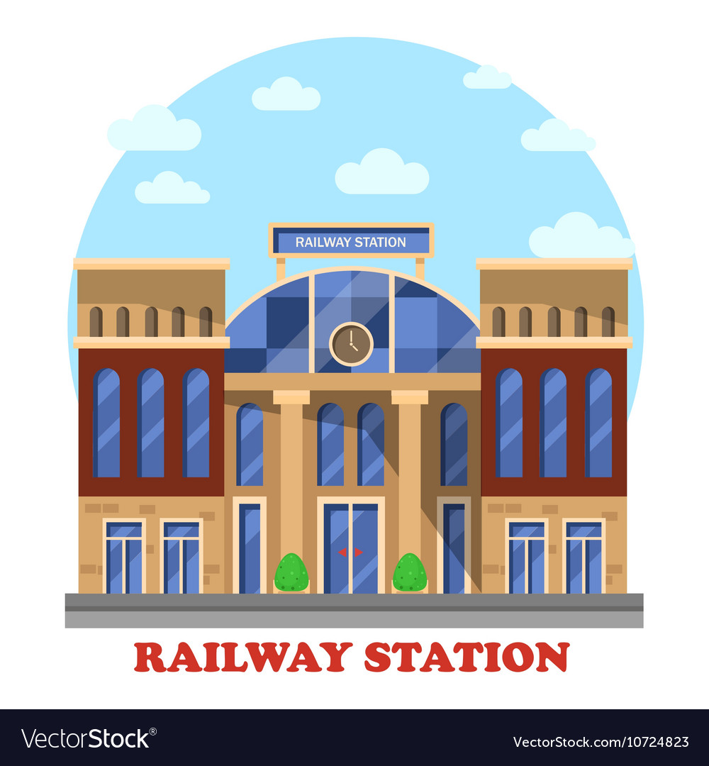 Train and railway railroad station or depot