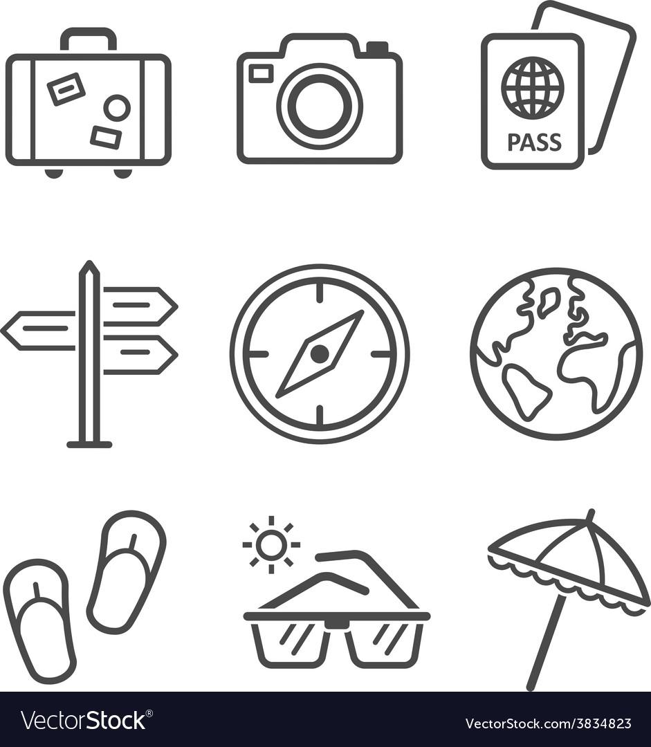 Travel and tourism icon set Simplus series Each
