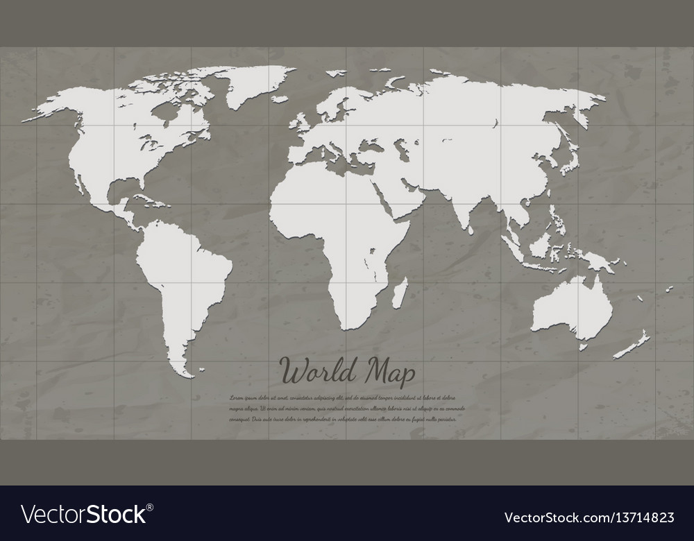 Vintage World Map Paper Card Map Silhouette Vector Image - World map silhouette poster
