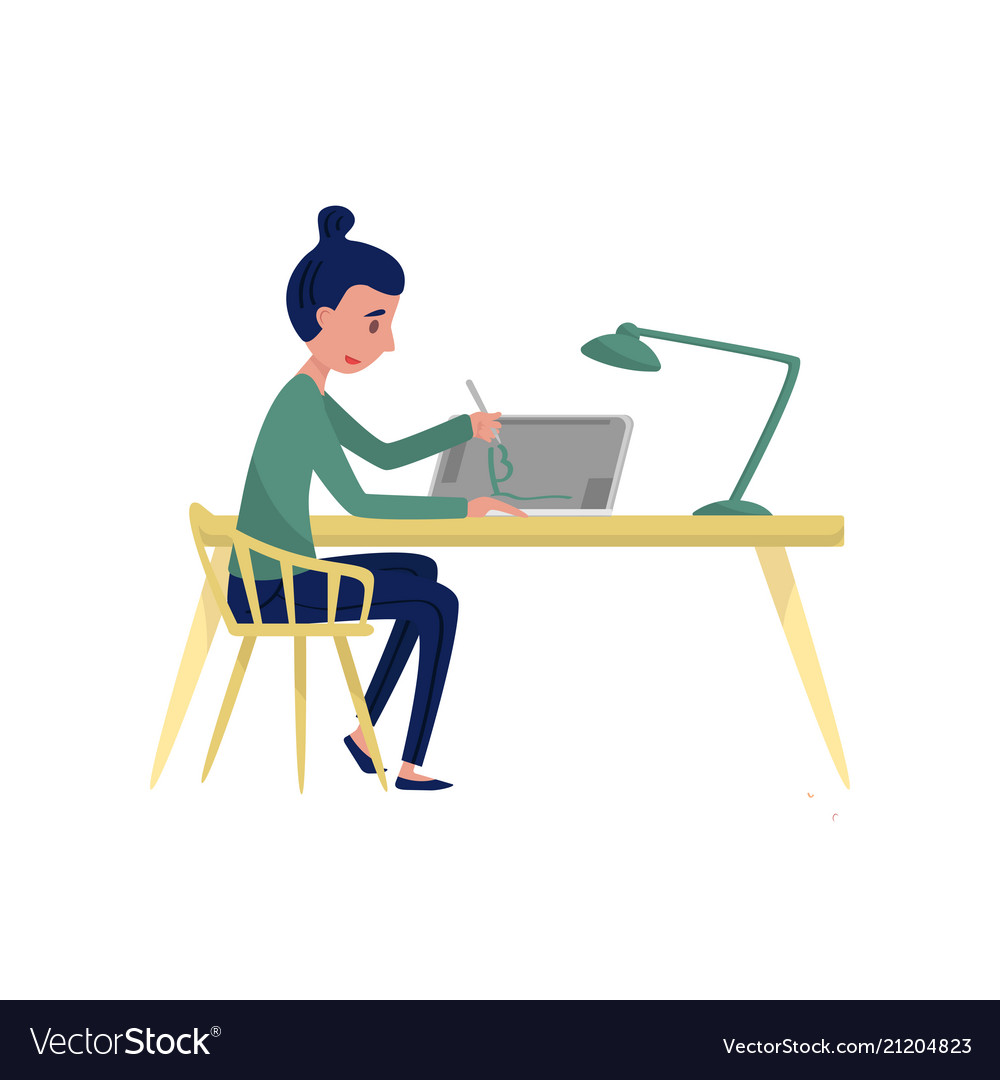 Brilliant Young Woman Sitting At Table And Drawing On Onthecornerstone Fun Painted Chair Ideas Images Onthecornerstoneorg
