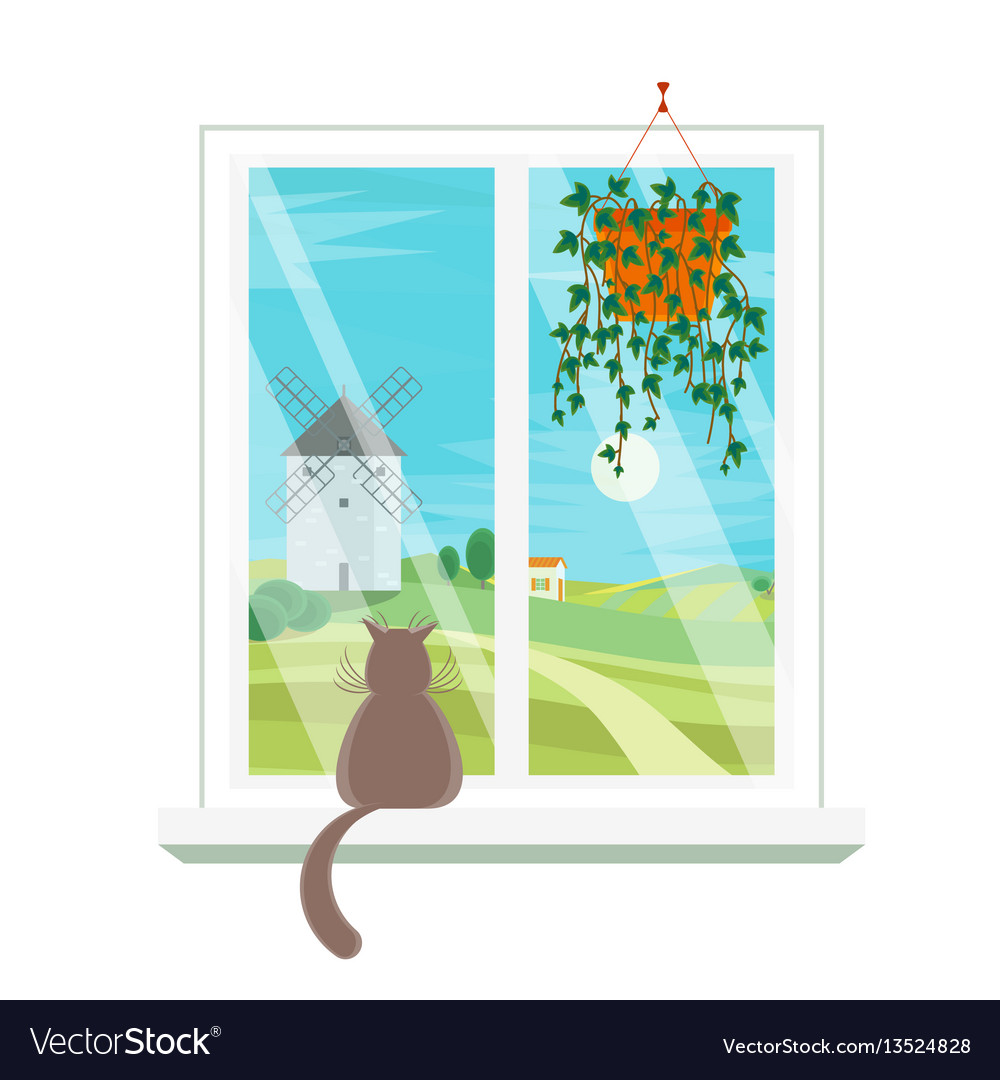 Cartoon windows windmill view