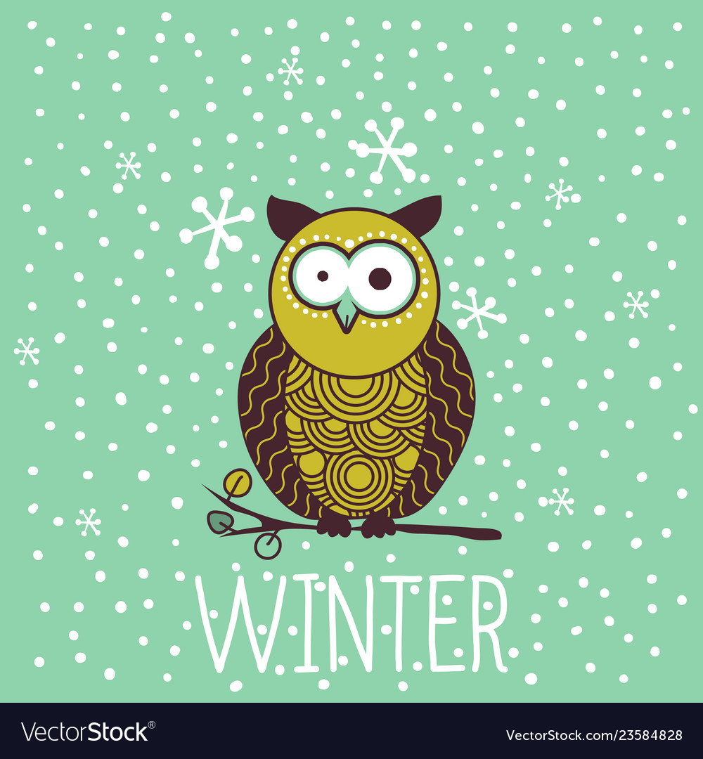 Cute shocked cartoon owl in winter
