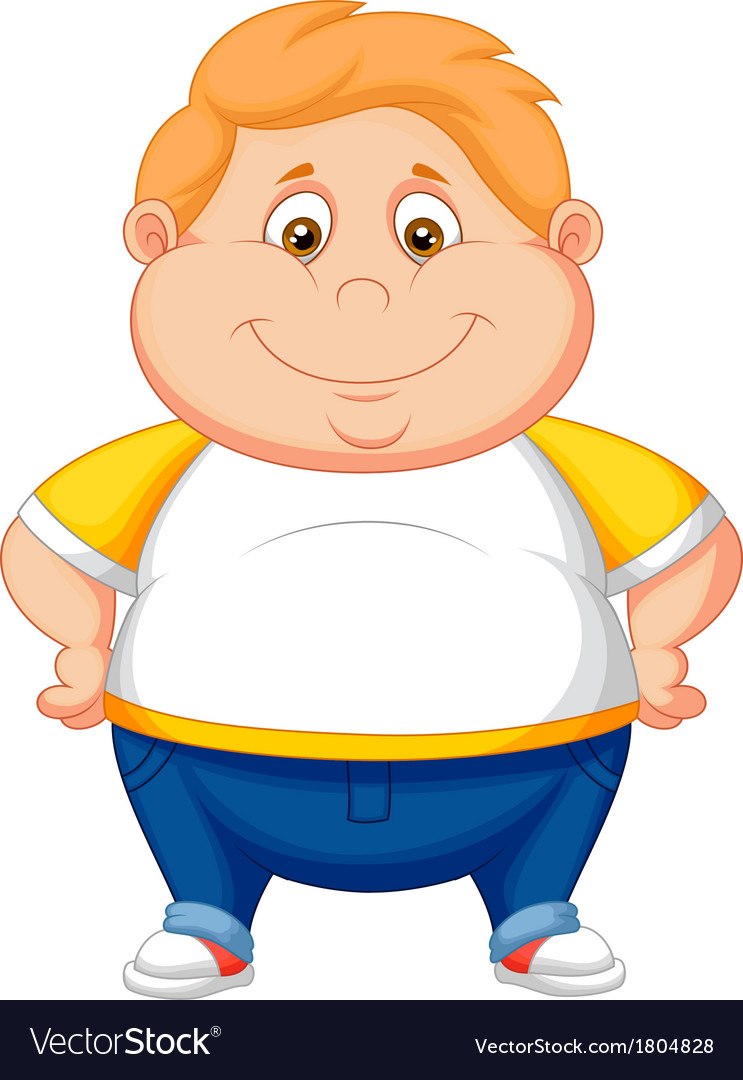 Fat boy cartoon posing vector image