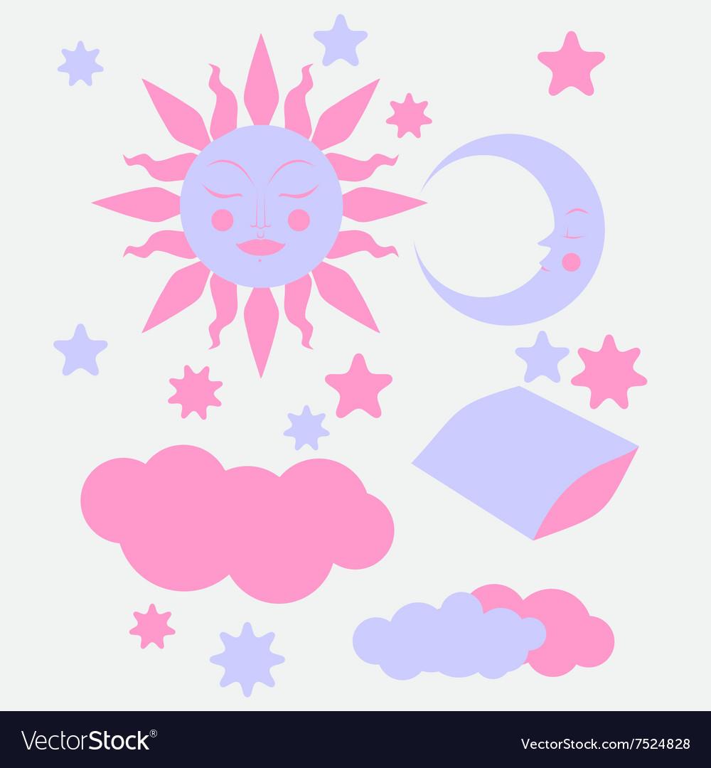 Hand Drawn flat sleeping elements