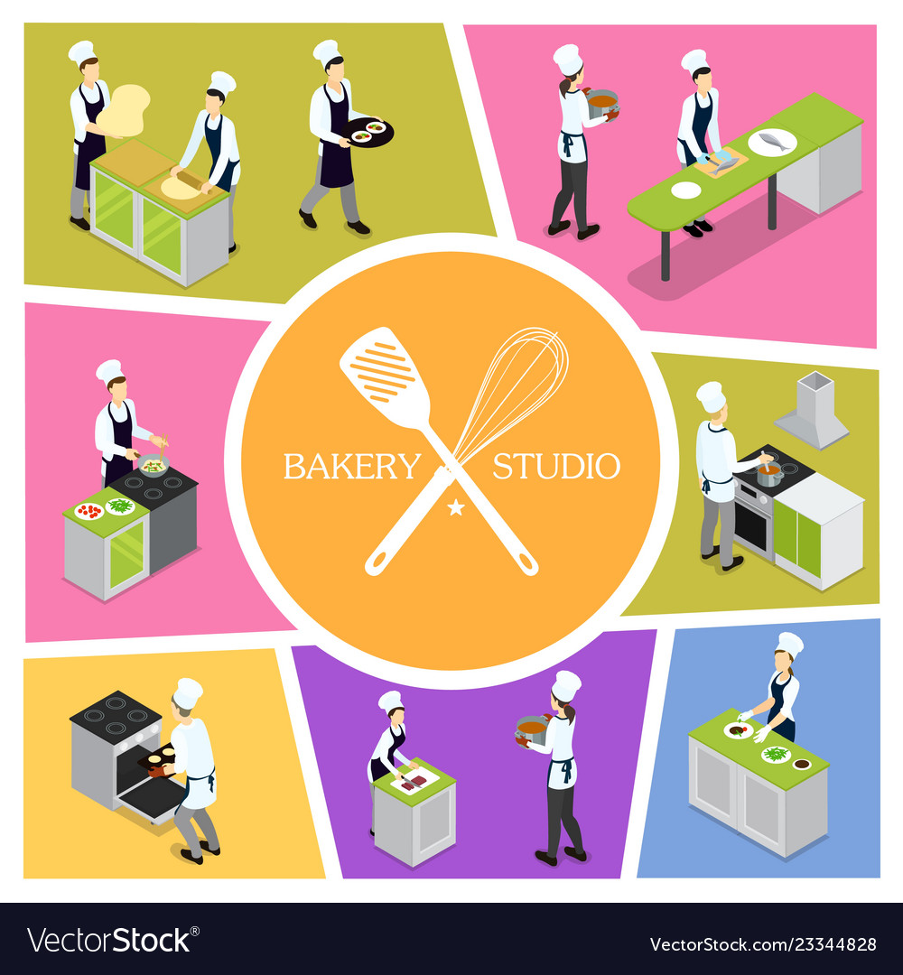 Isometric professional cooking composition