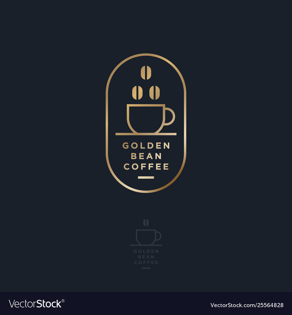 Logo coffee point cup beans letters frame