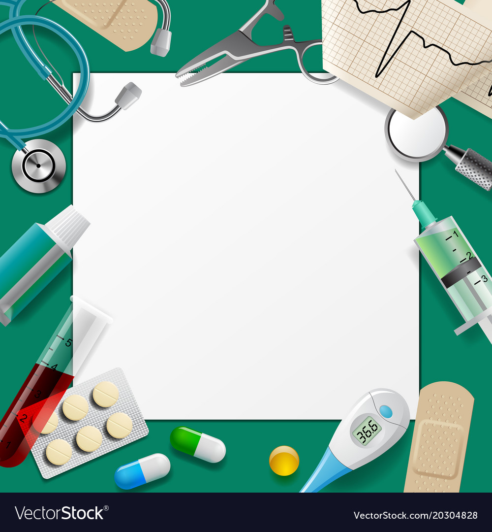 medical template and frame with medicine equipment