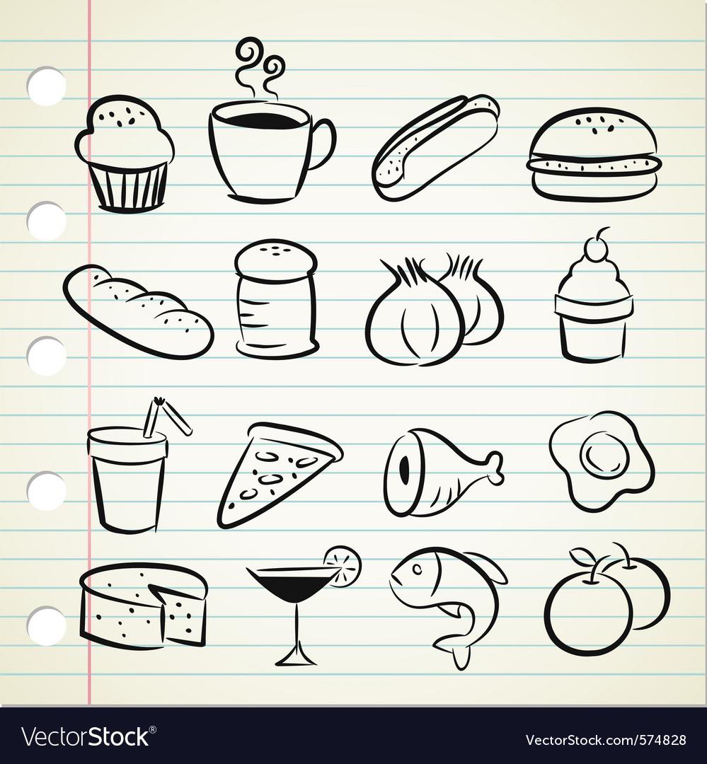 Sketchy food icons