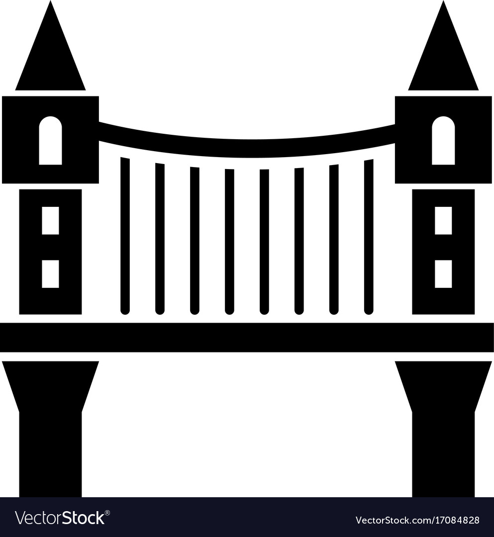Tower bridge icon simple black style vector image
