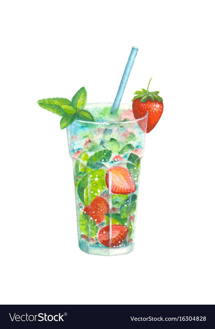 Watercolor strawberry mojito cocktail vector image