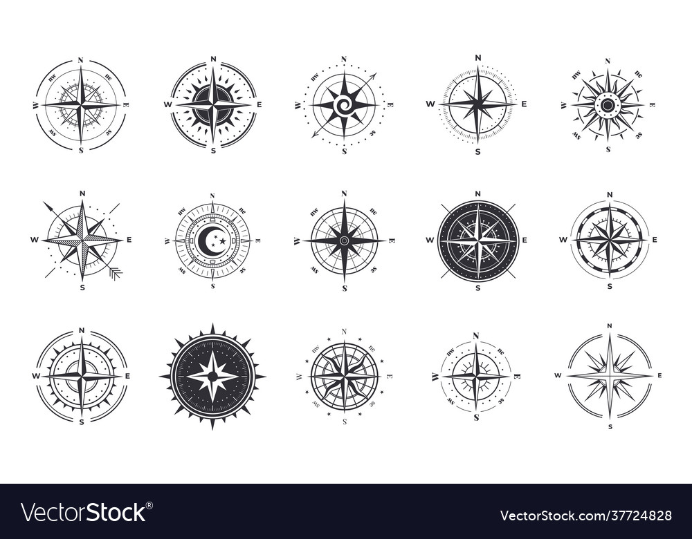 Wind rose compass signs nautical instruments for