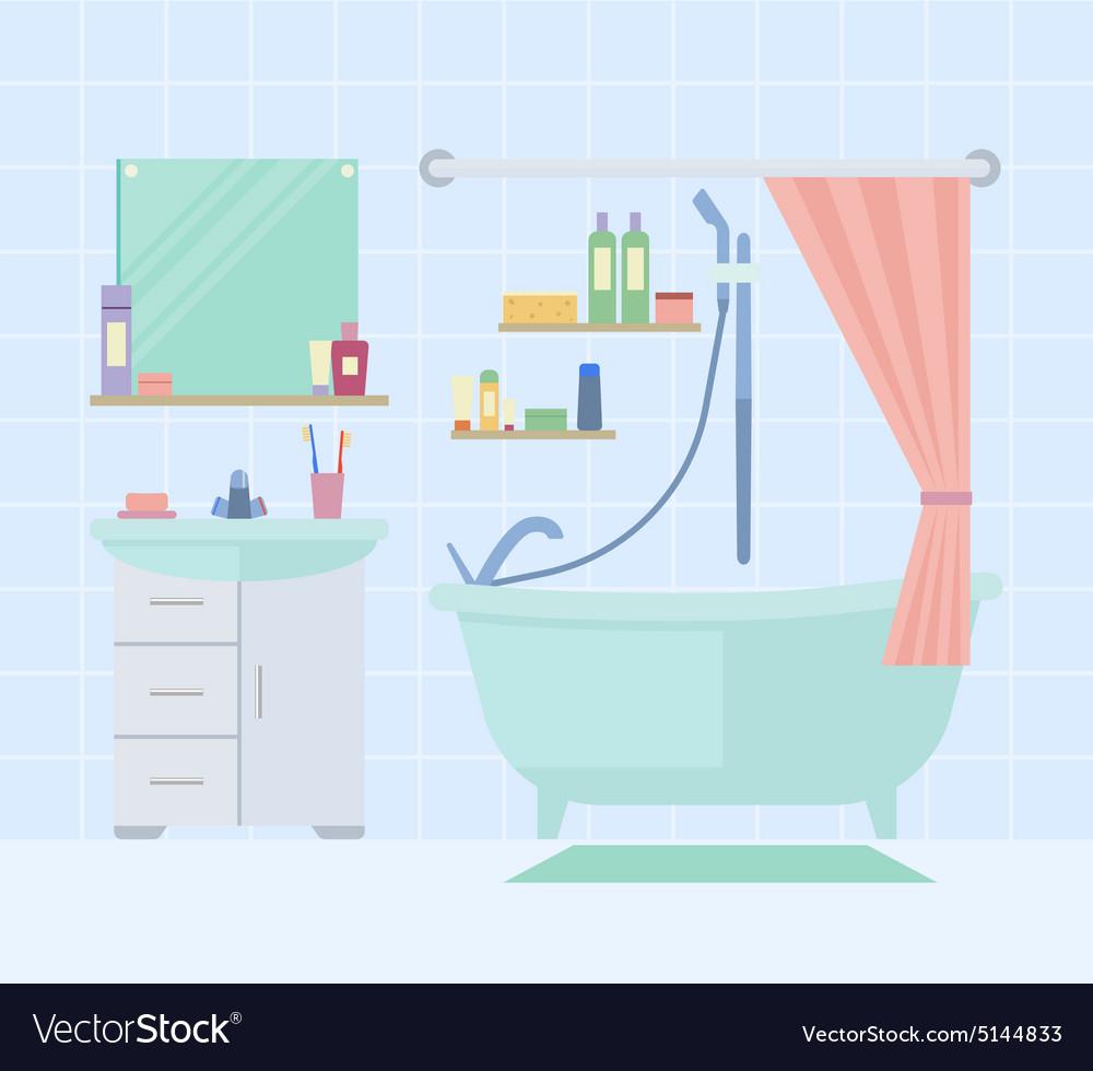 Bathroom interior with furniture