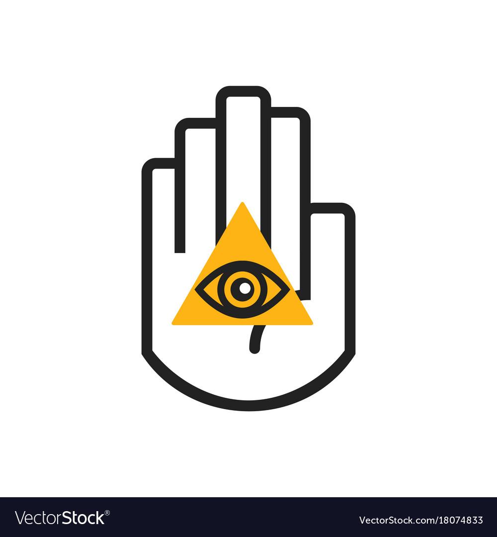 Black line hand symbol holding orange seeing eye