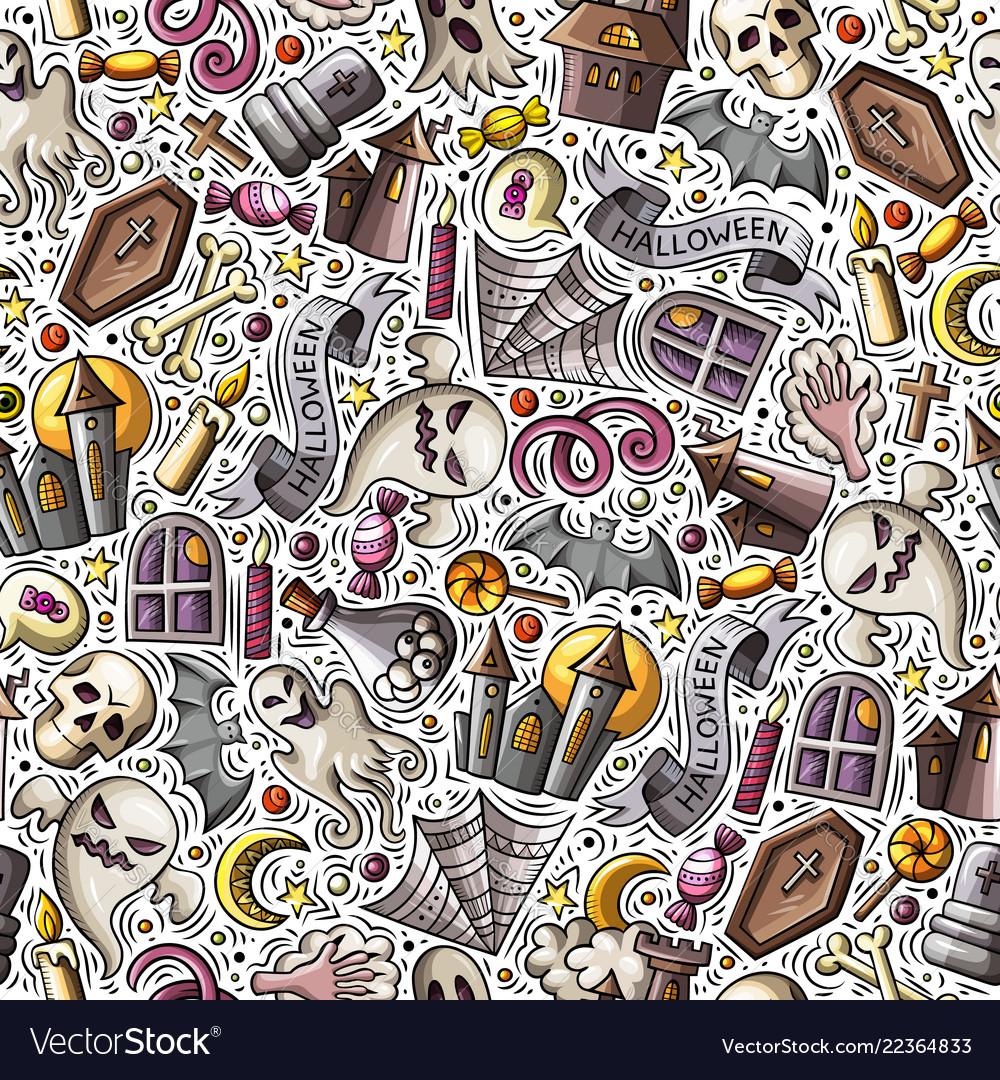 Cartoon cute hand drawn halloween seamless pattern