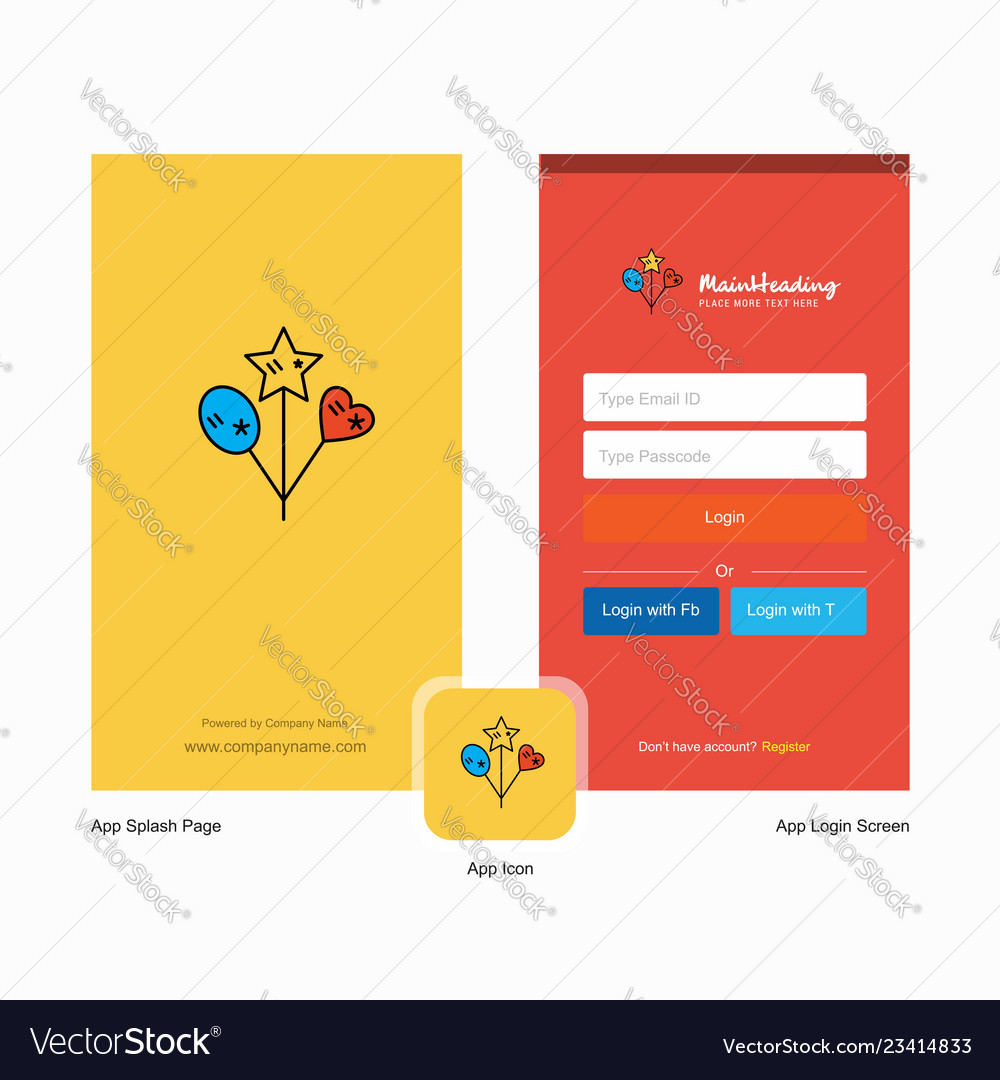 Company heart and star balloons splash screen and