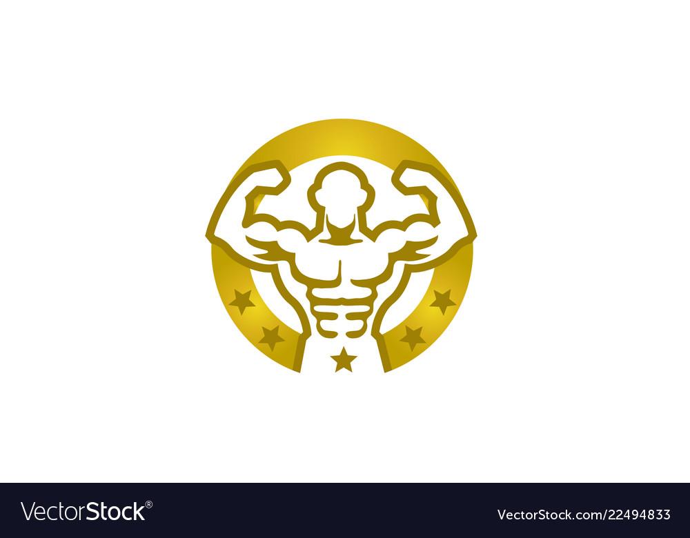 Creative bodybuilder golden circle stars logo