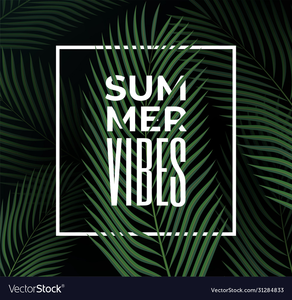 Dark tropical leaves background with summer vibes