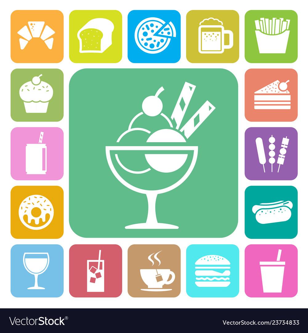 Fast food and dessert icon set