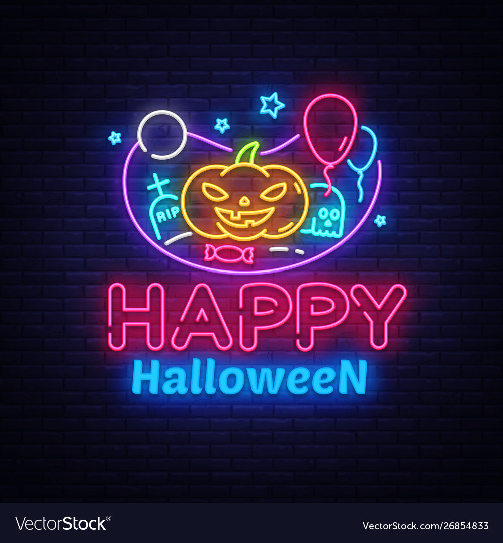 Happy halloween neon sign design template